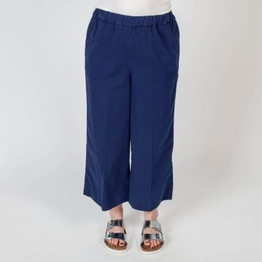 Petra Wide Cotton Culotte in Marine