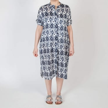 Ramie Blurred Ikat Print Shirt Dress in Blue