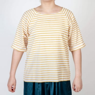 Tammy Cotton Stripe Top in Yellow