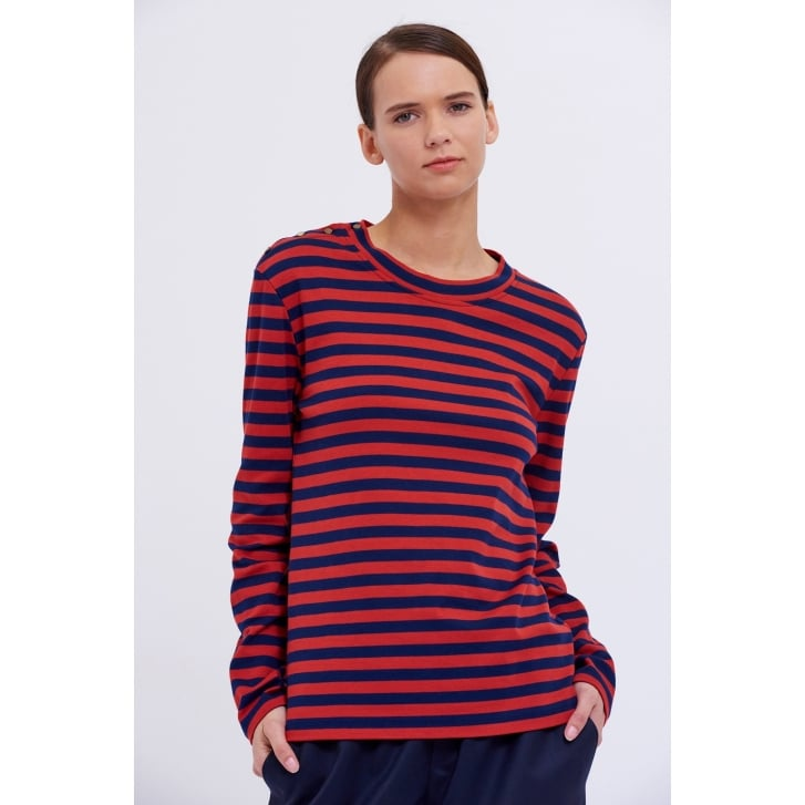 CHLOE STORA Thelma Stripe Long Sleeve Top