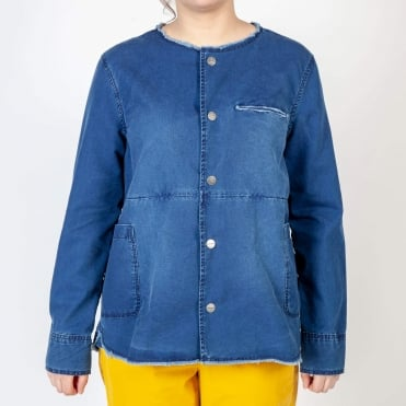 Varsovie Raw Edge Collarless Jacket in Indigo