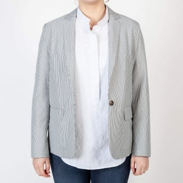 Viska Fine Stripe Blazer in Grey
