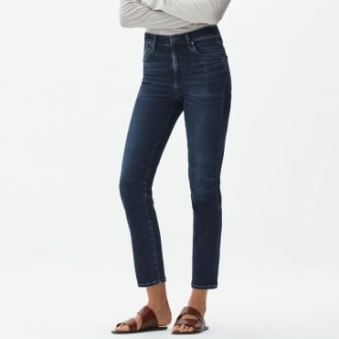 Cara Denim High Rise Cigarette Pant in Marisole