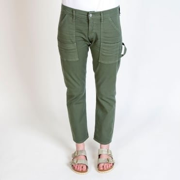 Leah Cargo Crop Pant in Canopy Green