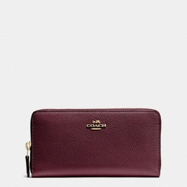 Accordion Zip Pebble Leather Purse in Oxblood