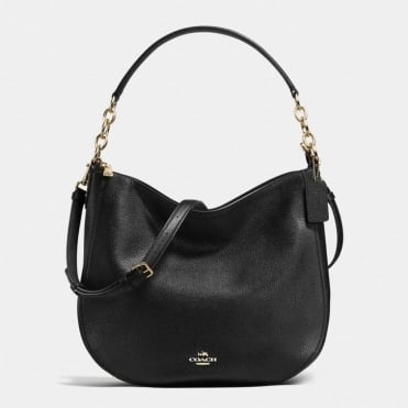 Chelsea 32 Polished Pebble Hobo in Black