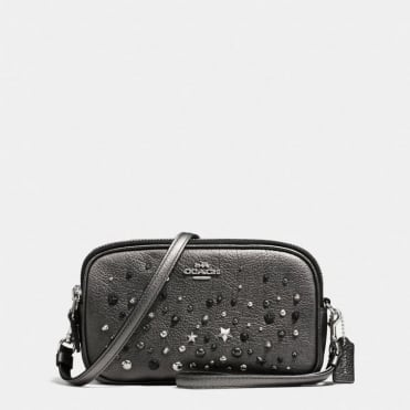 Crossbody Clutch in Metallic Graphite
