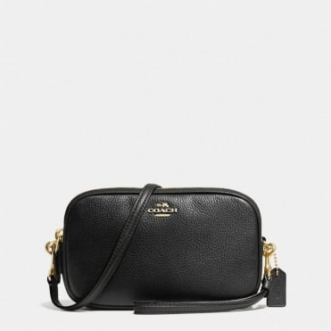 Crossbody Clutch in Polished Pebble Leather in Black