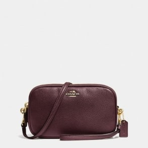 Crossbody Clutch in Polished Pebble Leather in Oxblood
