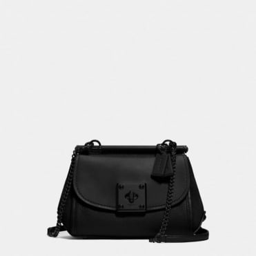 Drifter Mixed Leather Crossbody in Black