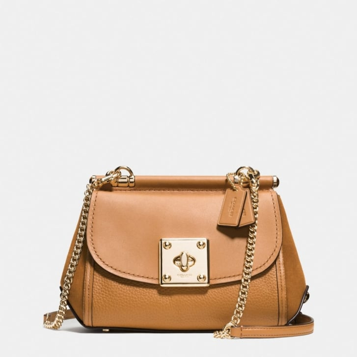 COACH Drifter Mixed Leather Crossbody in Light Saddle