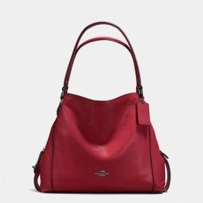 Edie 31 Polished Pebble Shoulder Bag in Dark Cherry