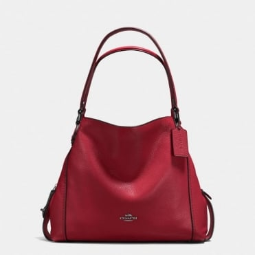 Edie 31 Polished Pebble Shoulder Bag in Dark Cherry