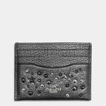 Flat Card Case in Metallic Graphite