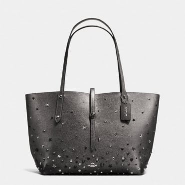 Market Tote in Metallic Graphite