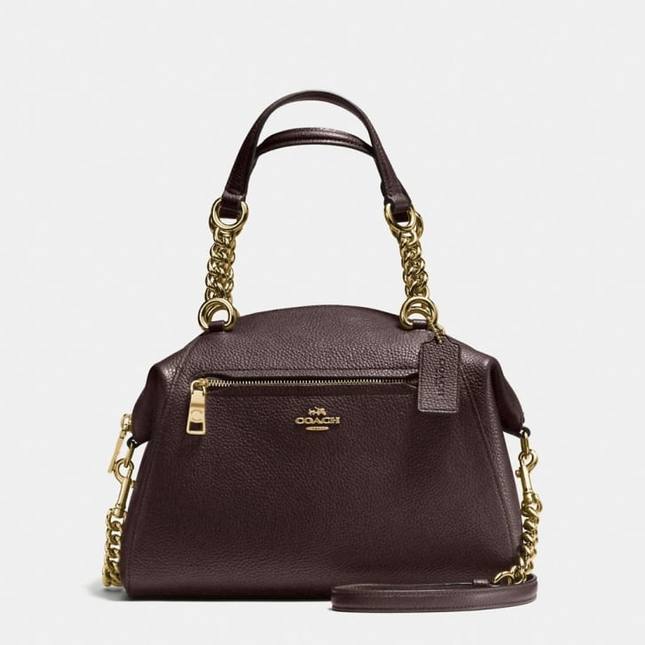 COACH Prairie Polished Pebble Satchel in Chestnut