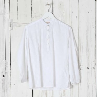 Collarless Button Front Shirt