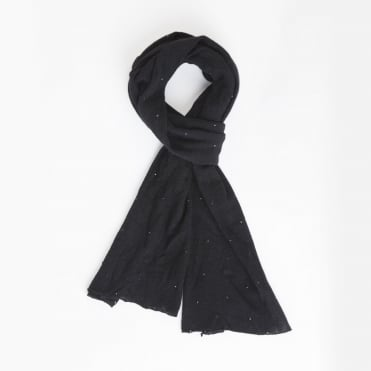 Beau Crystal Spaced Cashmere Scarf in Black
