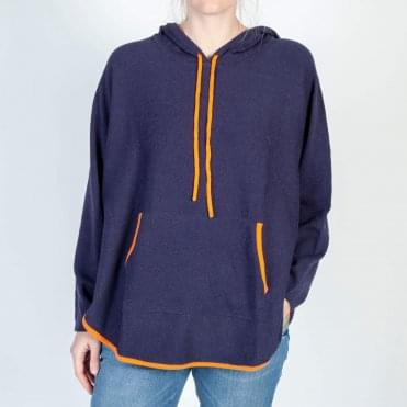 Harper Cotton Hoody in Navy/Orange