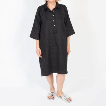 Linen Button Through Dress in Black