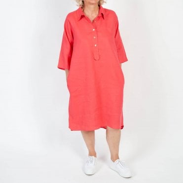 Linen Button Through Dress in Bright Rose