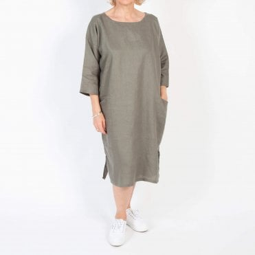 Linen Midi Tunic Dress in Khaki