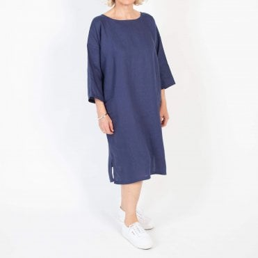 Linen Midi Tunic Dress in Navy