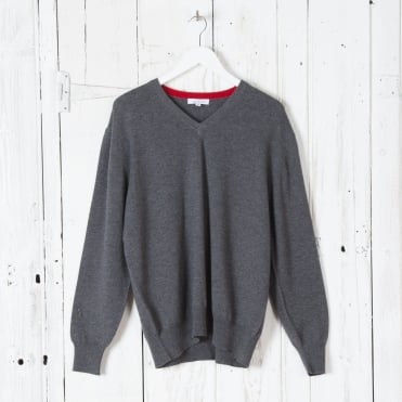 Merino V Neck Jumper in Graphite Marl