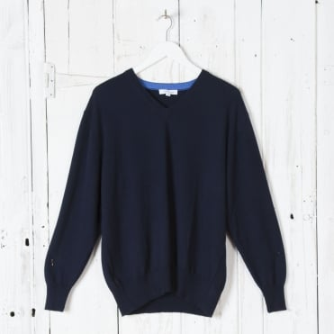 Merino V Neck Jumper in Navy Marl