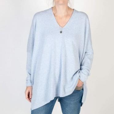 Montana Cotton Oversized V Neck Knit in Baby Blue
