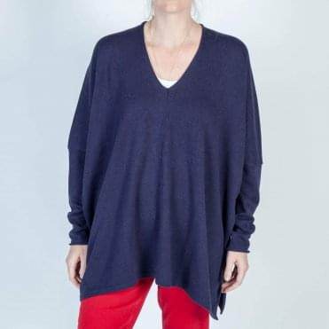 Montana Cotton Oversized V Neck Knit in Navy