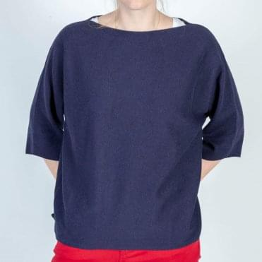 Sansa Cotton Stripe Knit in Navy/White