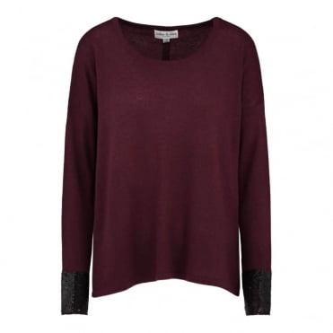 Split Hem Sequin Cashmere Jumper