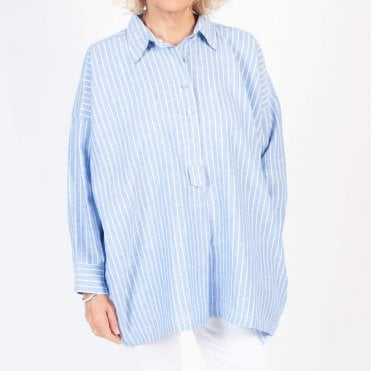 Stripe Linen Half Placket Shirt in Blue