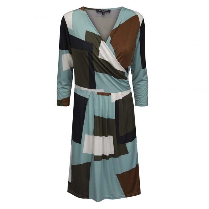 ILSE JACOBSEN Cross Front Geo Print Dress
