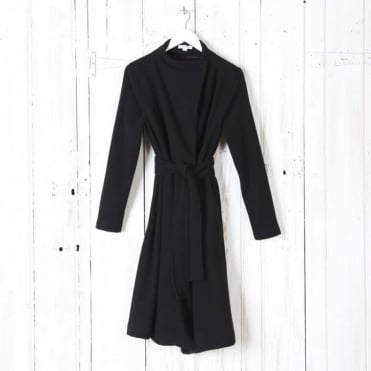 Funnel Neck Coat with Tie Waist
