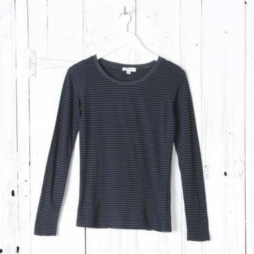 Long Sleeve Scoop Stripe Top