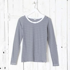 Long Sleeve Scoop Stripe Top