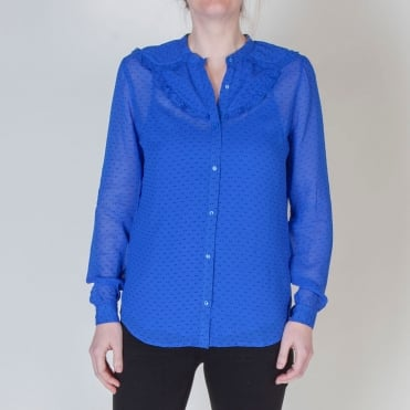Faye Double Dot Collarless Shirt with Slip in Dazzling Blue