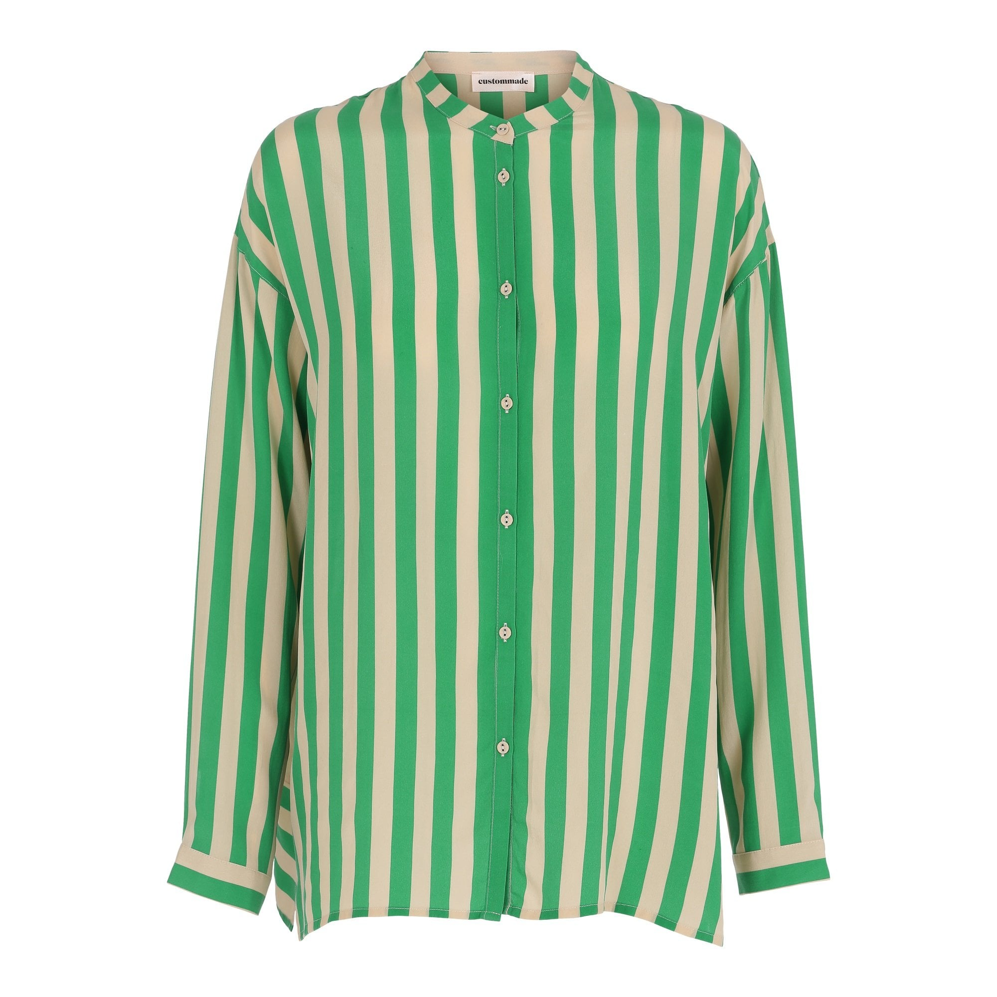 e50a79950939a Buy Custommade Reysa Stripe Silk Shirt In Green