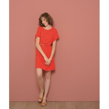 Cotton Mix Flutter Sleeve Dress in Red