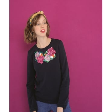 Floral Embroidery Sequin Sweater in Marine