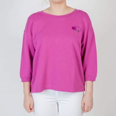 Weather Oversized Sweatshirt with Bell Sleeve in Violet
