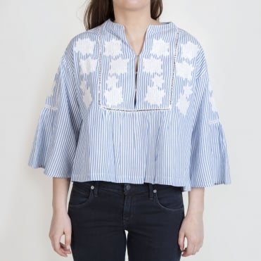 Applique Flower Stripe Top in Blue