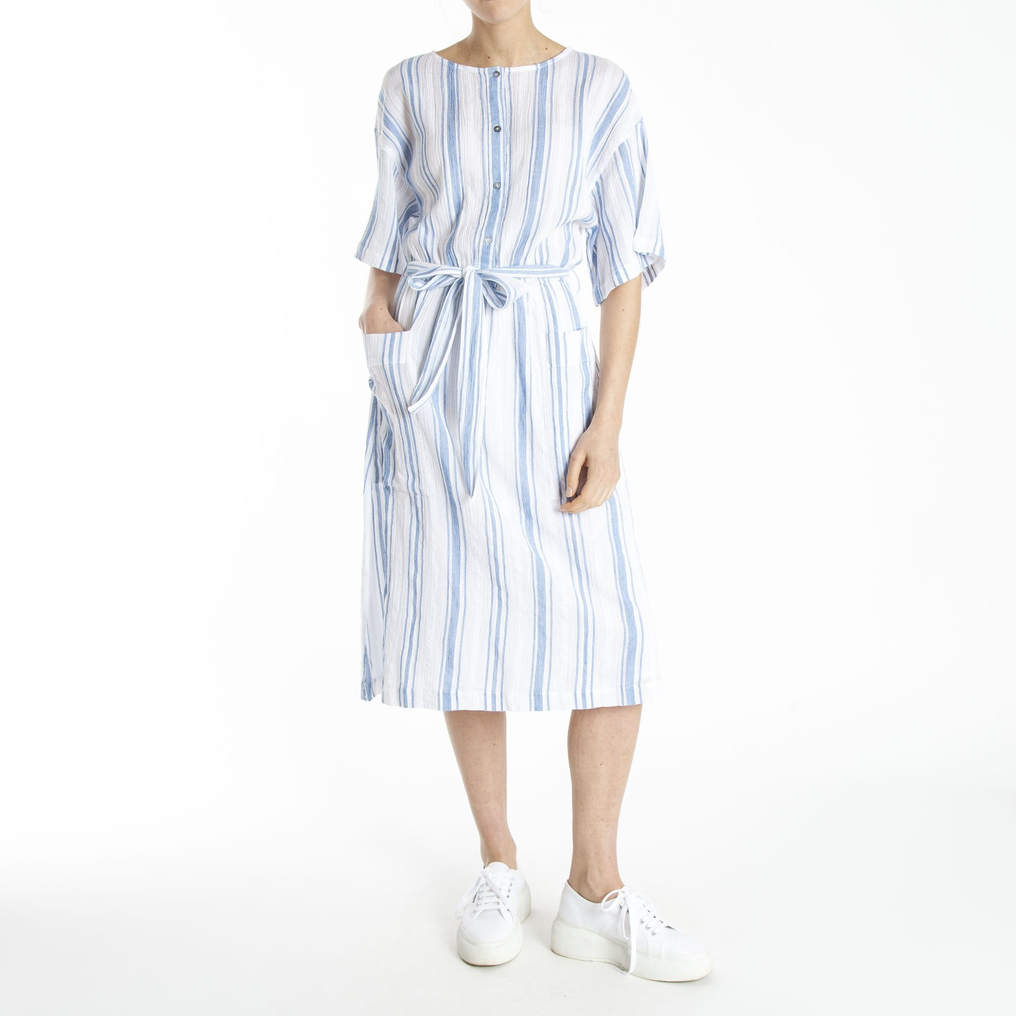 fd93518ed38e DESIGNERS SOCIETY Cheesecloth Stripe Dress in Blue/White