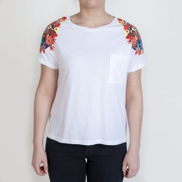 Embroidered Flower T Shirt in White