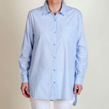 Long Sleeve Stripe Oversized Shirt in Blue