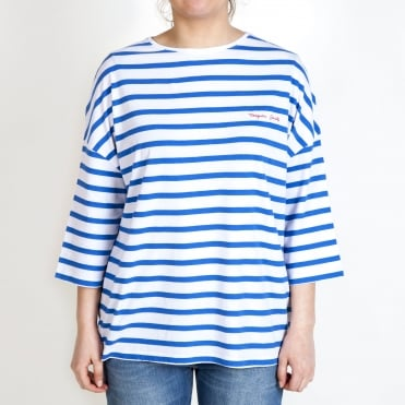 Oversize Stripe 3/4 Sleeve T Shirt in Blue