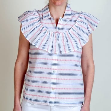 Sleeveless Stripe Ruffle Shirt in Multi
