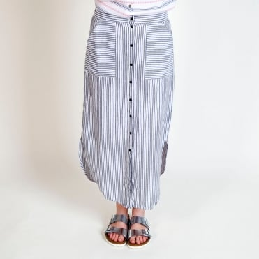 Stripe Button Through Skirt in Grey